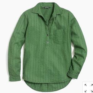 Green, Textured Pullover Button-up Shirt